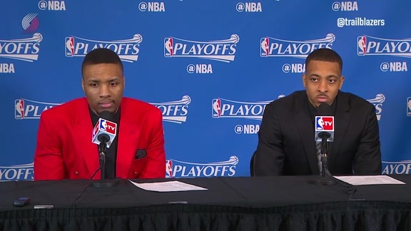 Damian Lillard and CJ McCollum Take the Podium Following Game Six