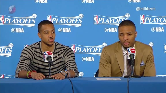 Damian Lillard and CJ McCollum Take the Podium Following Game Five