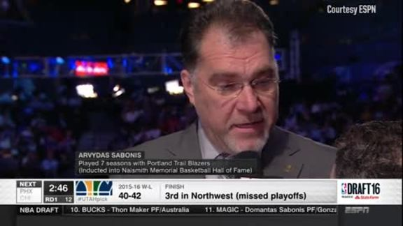 Arvydas Sabonis Chimes In From NBA Draft