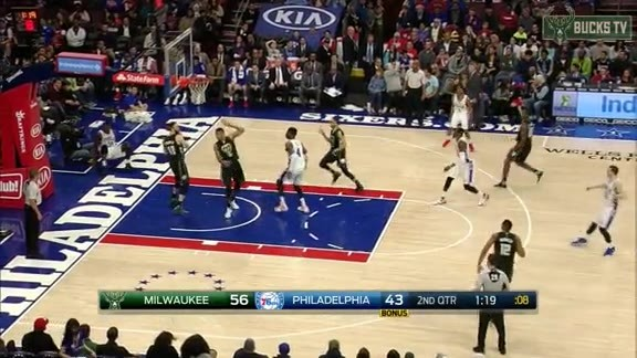 Giannis with Two Blocks in One Possession