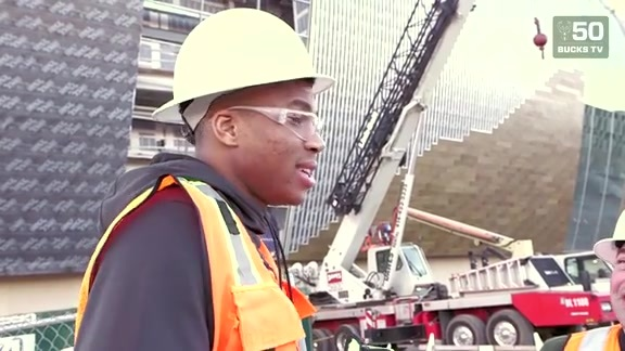 Giannis Antetokounmpo Tours New Bucks Arena