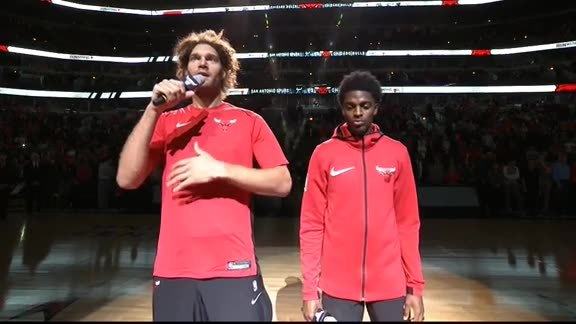 Robin Lopez and Justin Holiday welcome the fans
