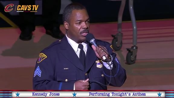 Cleveland Police Sergeant Sings National Anthem - February 5, 2016
