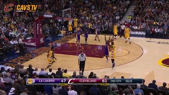 LeBron Closes out the First Half with a Triple - February 10, 2016
