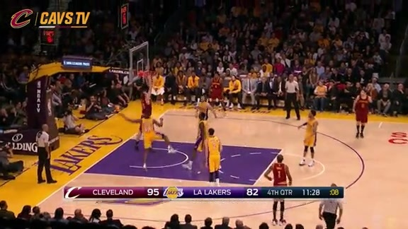 Kyrie Feeds Mozgov for the Slam - March 10, 2016