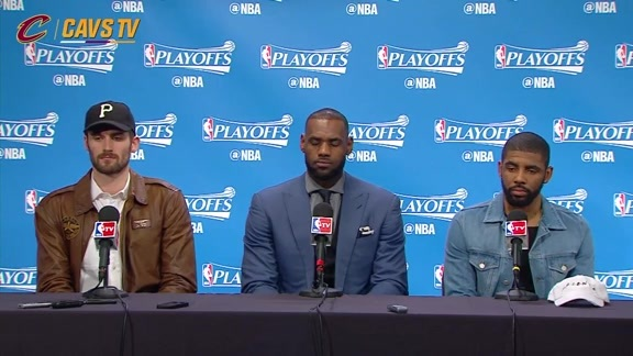 Game 4 Postgame: LeBron James, Kyrie Irving and Kevin Love - April 24, 2016