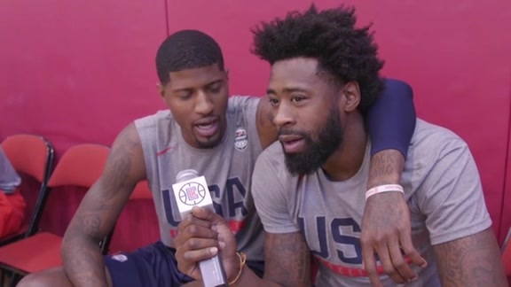 DeAndre Jordan Interviews Durant & P. George of Team USA | Day 3 - 7/21/16