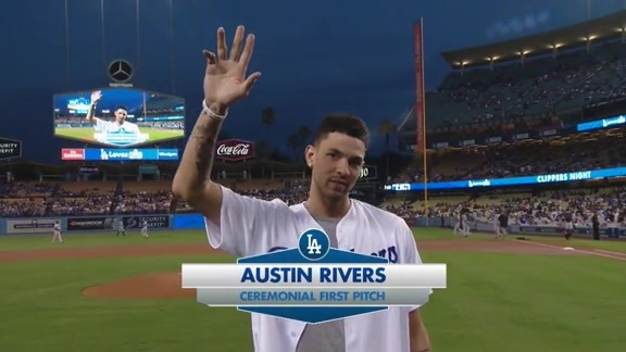Austin Rivers Throws Out the First Pitch - 9/19/16