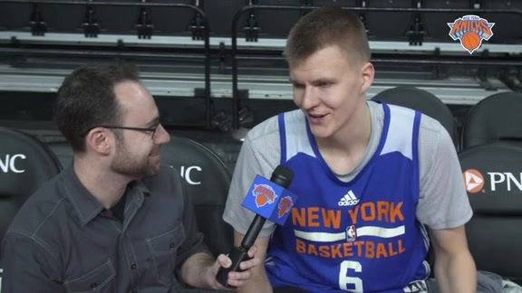 NYK @ DET Shootaround: 1-on-1 with Porzingis