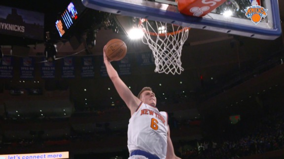 2015-16 Knicks Major Moment: Porzingis' Spin and Slam In MSG Debut