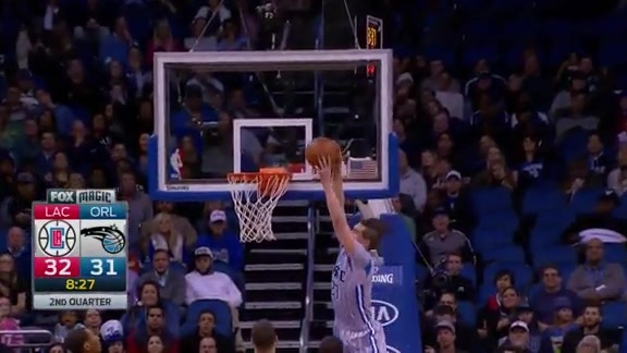 Evan Fournier to Mario Hezonja Alley-Oop Slam vs. Clippers