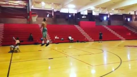 Aaron Gordon Completes Half-Court Swish Shot Dunk Challenge