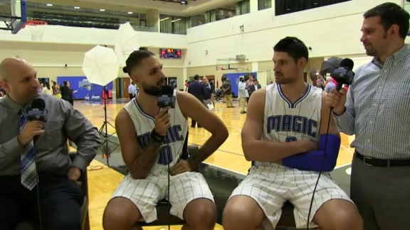 Magic Media Day: Nikola Vucevic and Evan Fournier