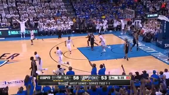 Serge Ibaka 3-Pointer vs Spurs