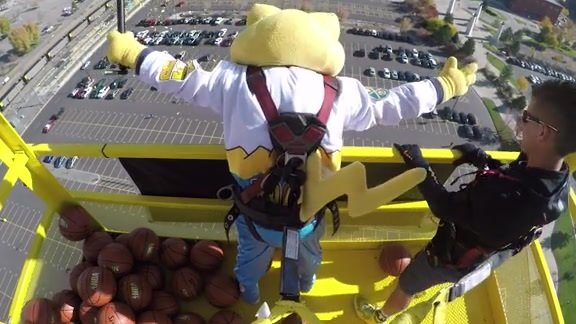 SuperMascot Rocky Hits 210-Foot Shot
