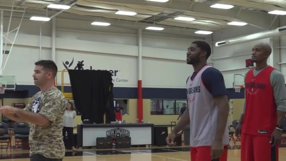 Pelicans welcome military members to practice