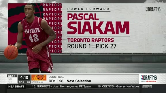 Pascal Siakam Drafted 27th Overall - June 23, 2016