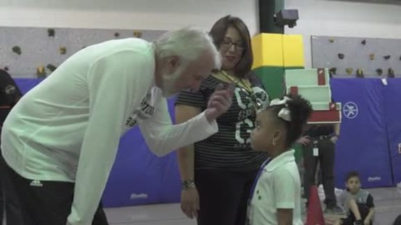 Coach Popovich & Patty Mills Give Away Shoes That Fit