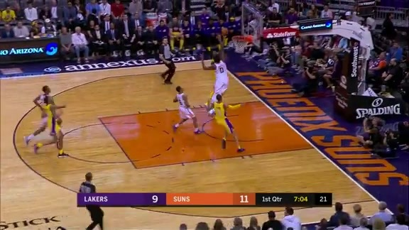 Marquese Chriss Swats Away the Ball During Lakers Fast Break