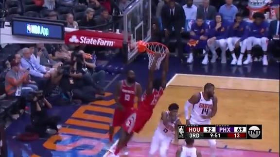 Chriss Flies in to Block the Rockets' Alley-Oop Attempt