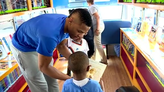 Westbrook Touts Reading on Book Bus