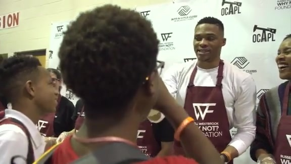 Russell Westbrook Hosts Sixth Annual Why Not? Thanksgiving Dinner
