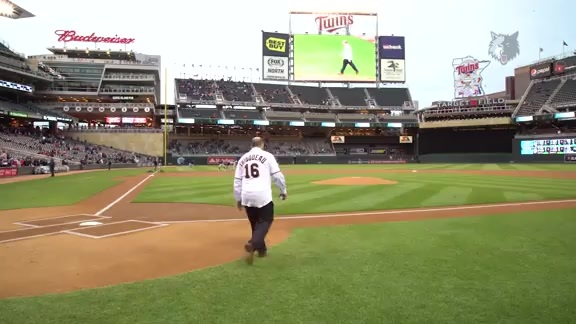 Tom Thibodeau Throws Out First Pitch At Twins Game