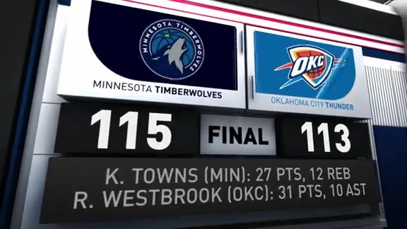 Game Recap: Timberwolves 115, Thunder 113