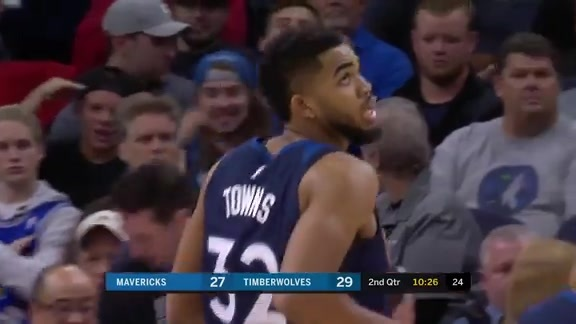 Karl-Anthony Towns Scores 28 vs. Mavericks | December 10th, 2017