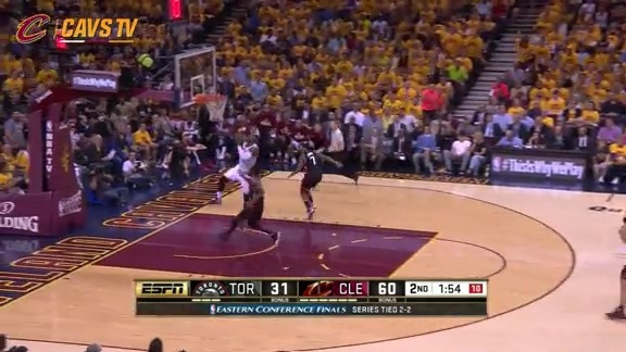 KLove Throws the Touchdown to LBJ - May 25, 2016