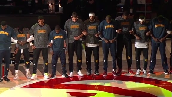 Cavs and Hawks Introduced Together, Link Arms In Show of Unity