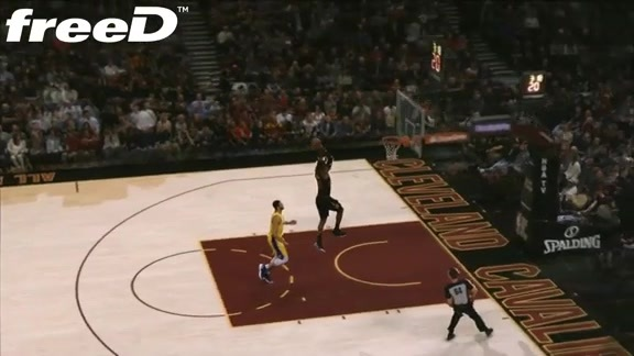 Highlight in freeD: LeBron All Alone for the Slam