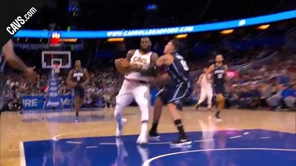 LBJ Finishes Through Contact