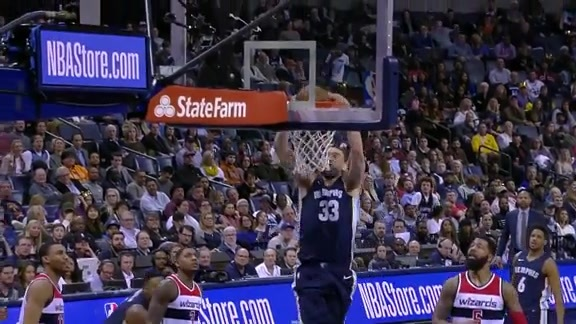 Gasol destroys the rim