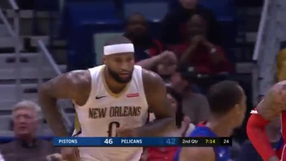 DeMarcus Cousins Pours in 20 and 10 vs. Pistons