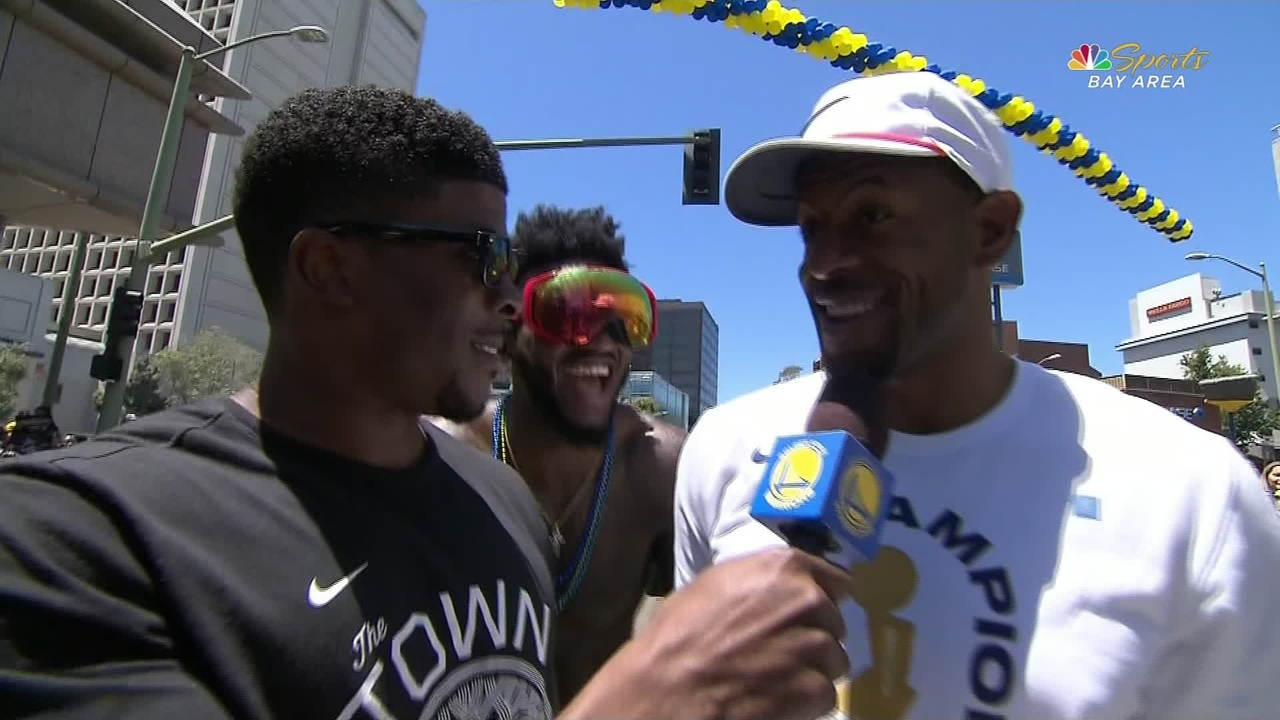 Warriors Parade: Andre Iguodala and Jordan Bell