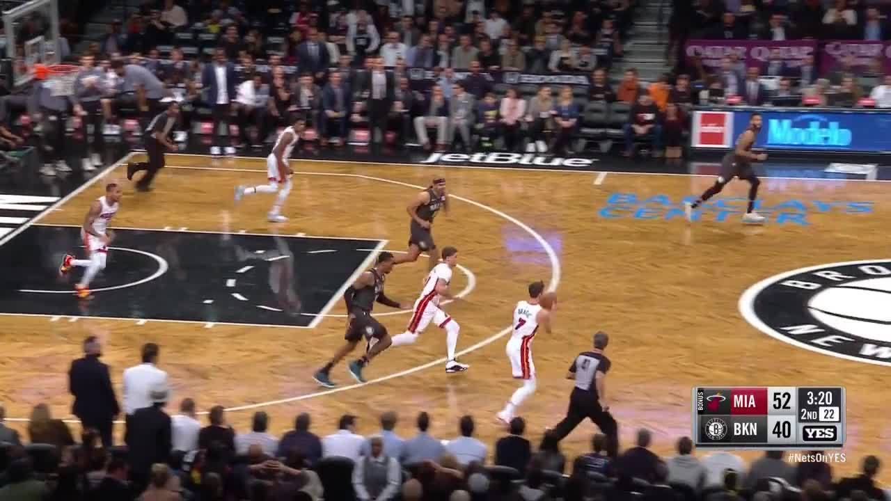 Dragic euro-steps by defender for layup vs. Nets