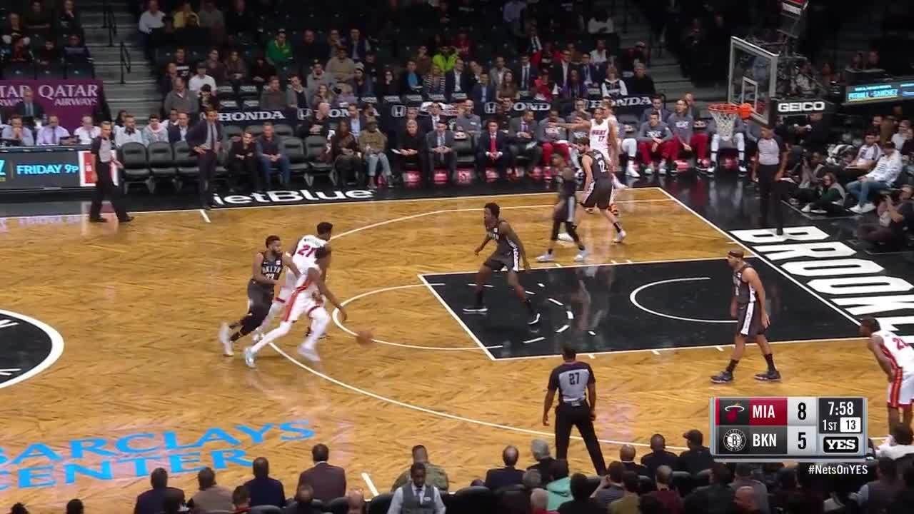 Whiteside leaps over defense for and-one vs. Nets