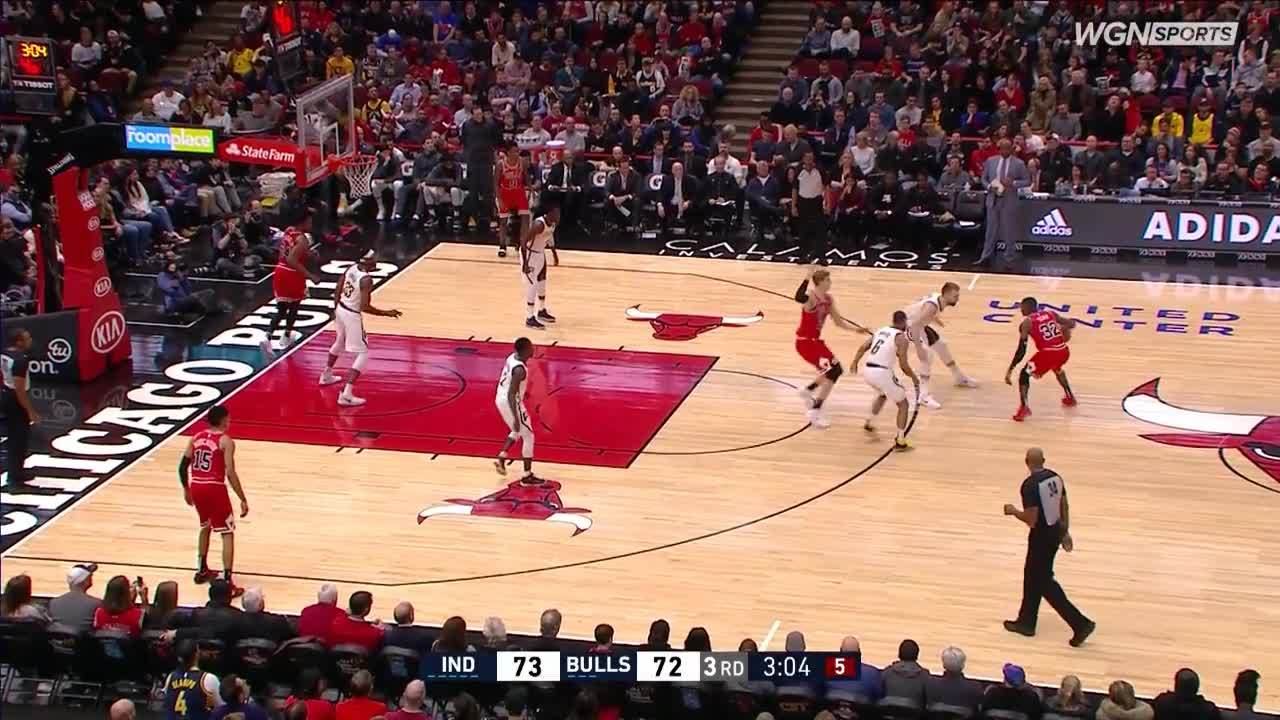 Kris Dunn finds Chandler Hutchison on the baseline for a slam vs. Pacers